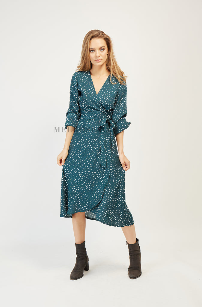 Enchanted Evening Dress | Polka Dot | Green