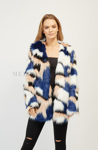 Living Colours Faux Fur Jacket | Red