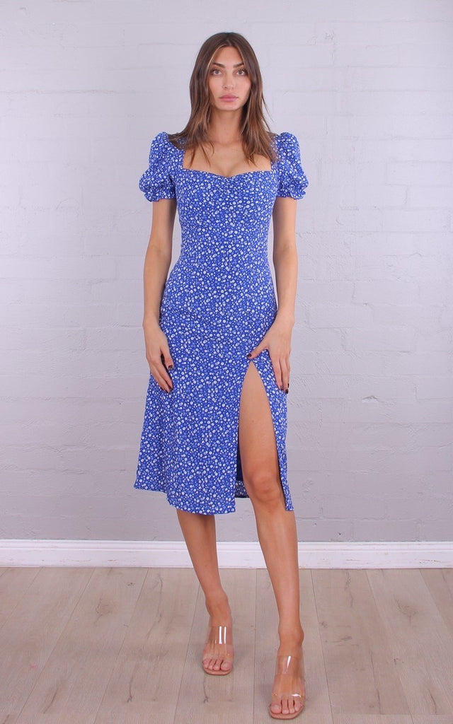 Flowerfields Midi Dress | Blue