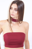 Burgundy Boob-tube Neck Collar Racer Back Infinity Crop Top