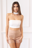 White Boob-tube Neck Collar Racer Back Infinity Crop Top