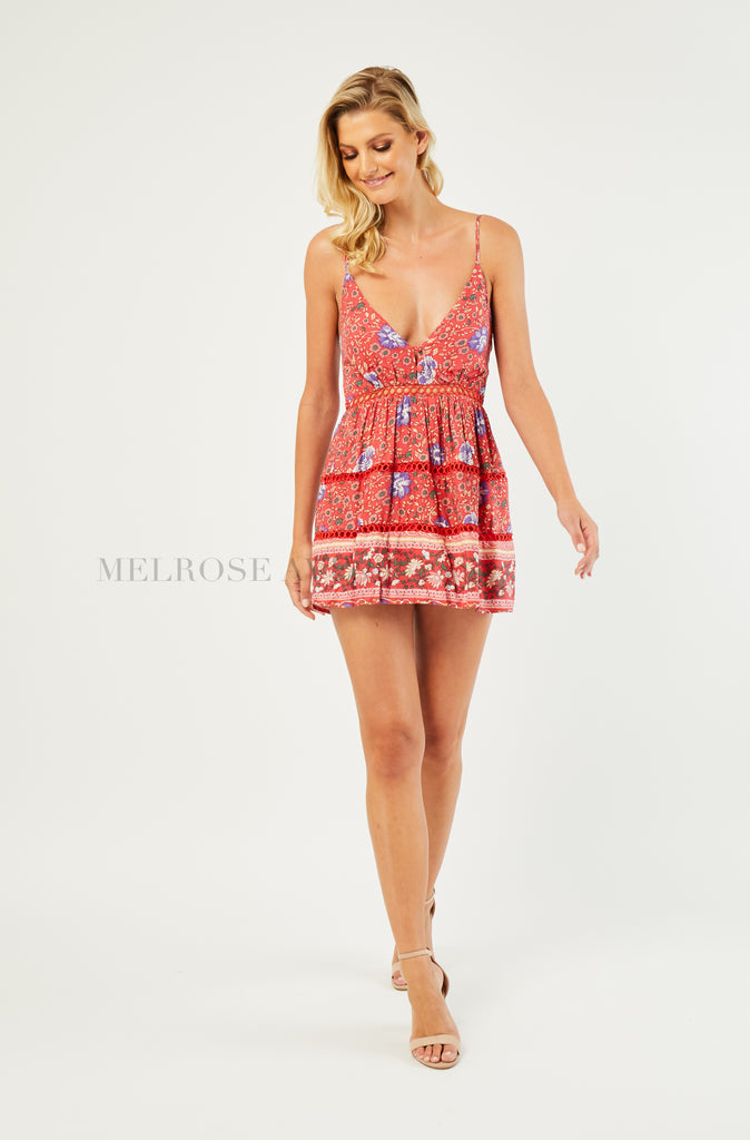 Sommer Playsuit | Red | Purple Floral