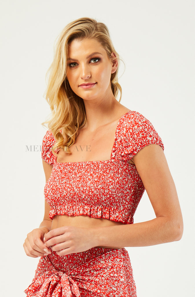 Aria Crop Top | Red | Floral