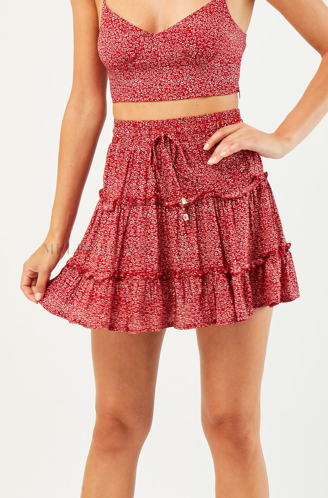 Pia Mini Skirt | Red | Floral