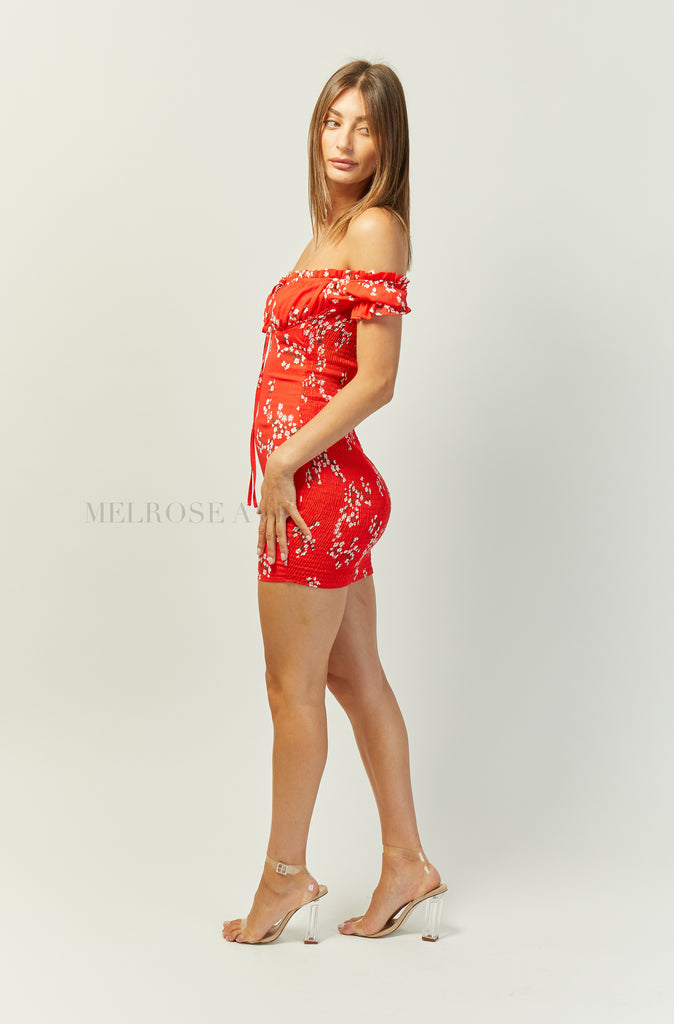 Penelope Mini Dress | Red | Floral