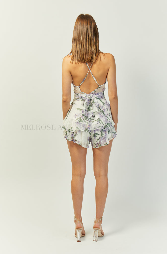 Cadence Playsuit | White | Floral