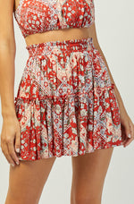 Lena Mini Skirt | Red | Floral