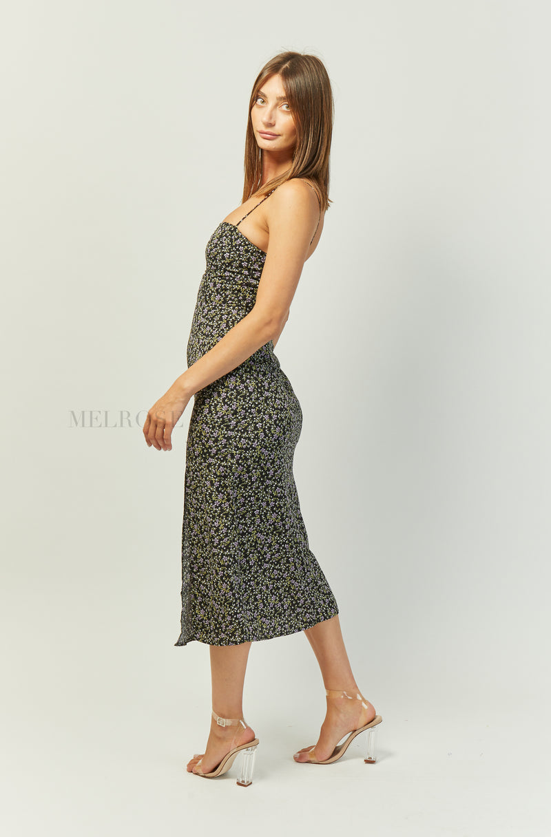 Alison Midi Dress | Black | Floral