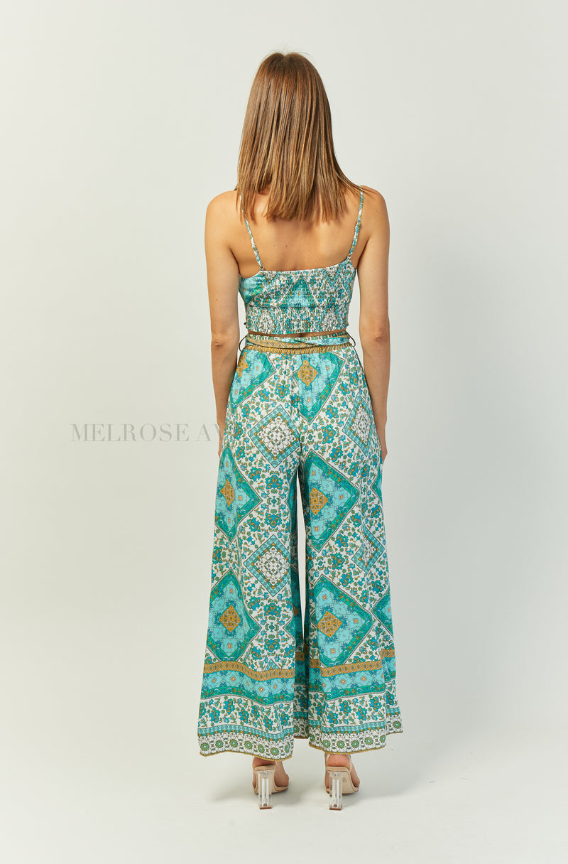 Malina Wide Leg Pants | Emerald