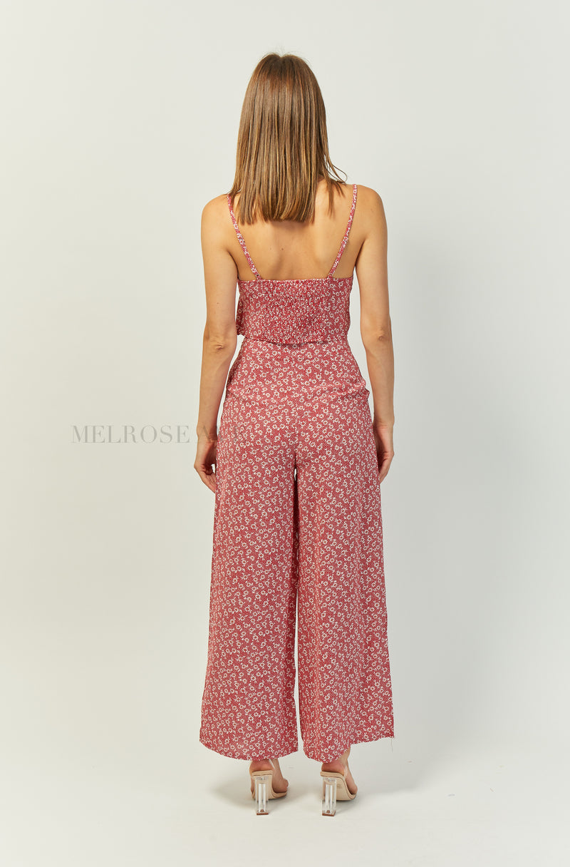 Emelia Wide Leg Pants | Red | Floral