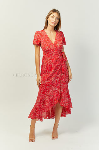 Flowerfields Midi Dress | Red