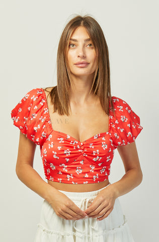 Ava Crop Top | Yellow | Floral