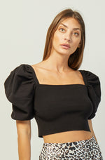 Luna Knit Crop Top | Black