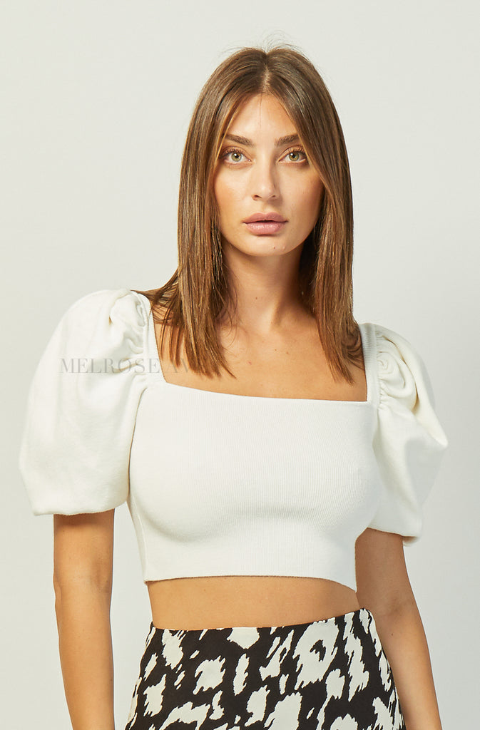 Luna Knit Crop Top | White