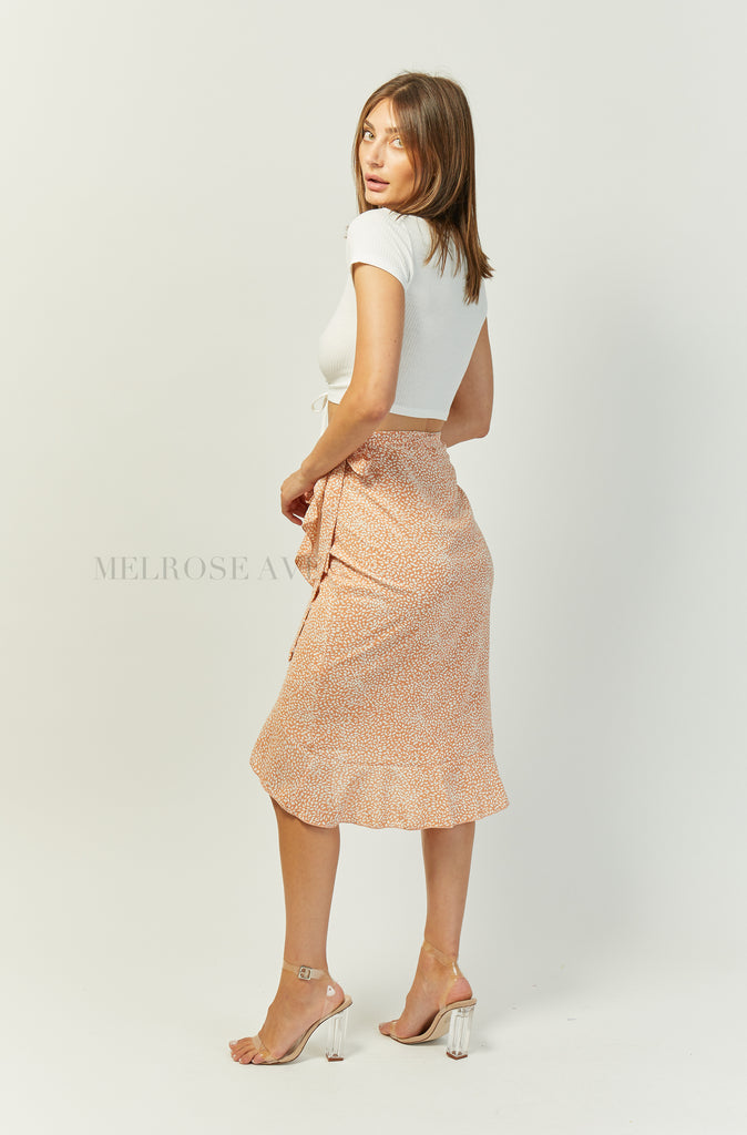 Wrap It Up Midi Skirt | Orange