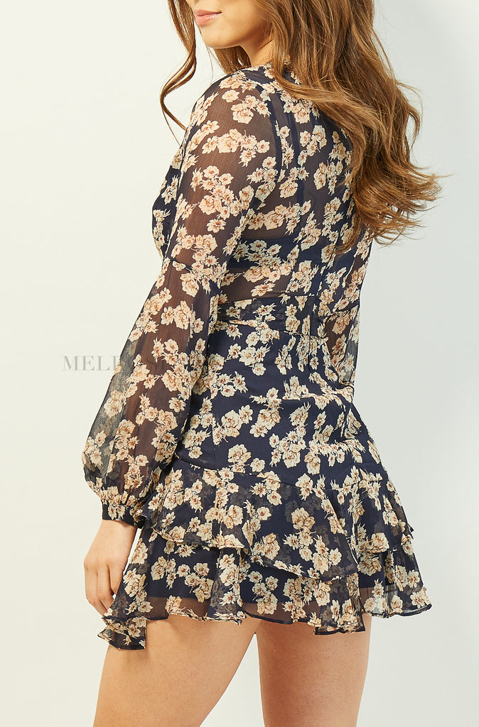 Marianne Mini Dress | Navy | Floral