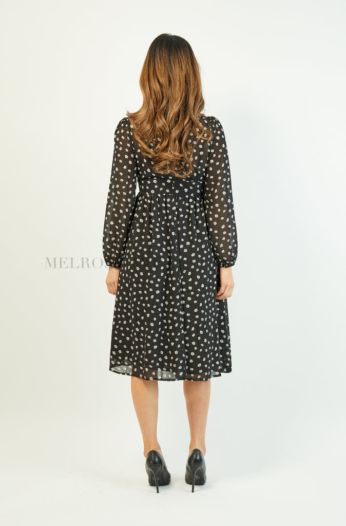 Misty Midi Dress | Black | Floral