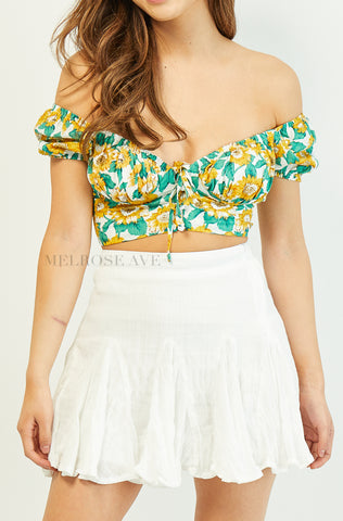 Emily Crop Top | White | Floral