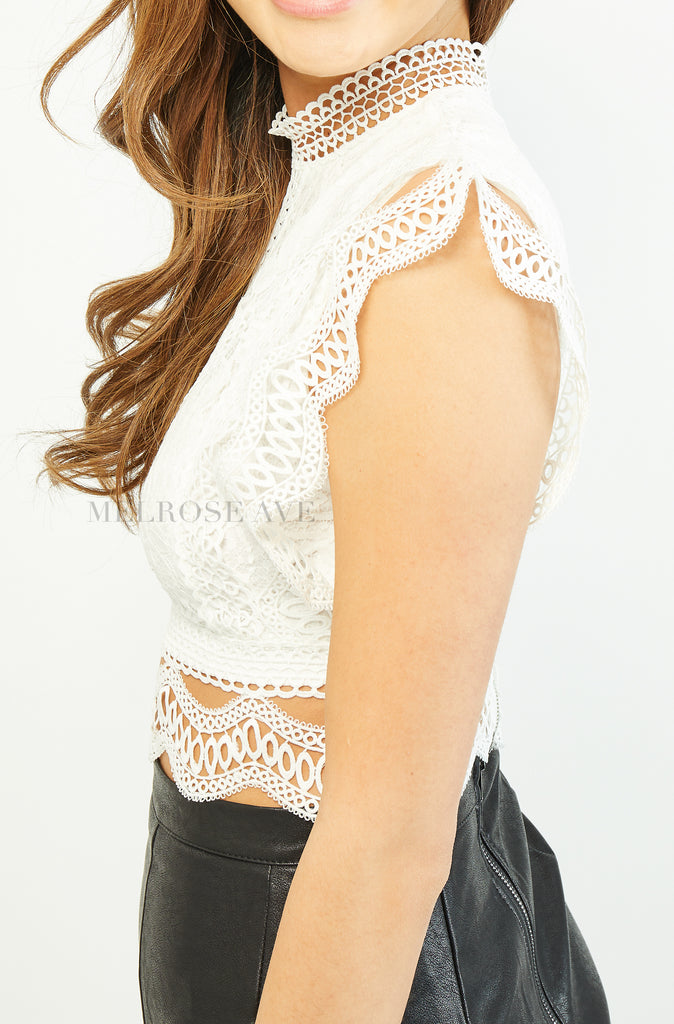 Aimee Lace Crop Top | White