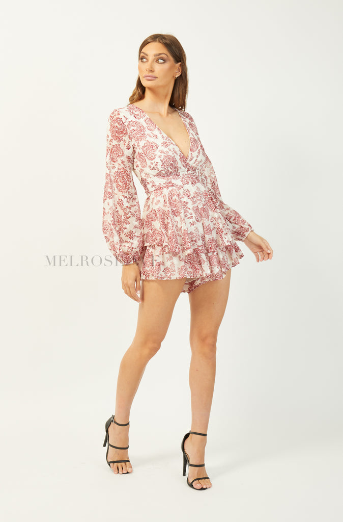 Marcia Playsuit | White-Red Floral