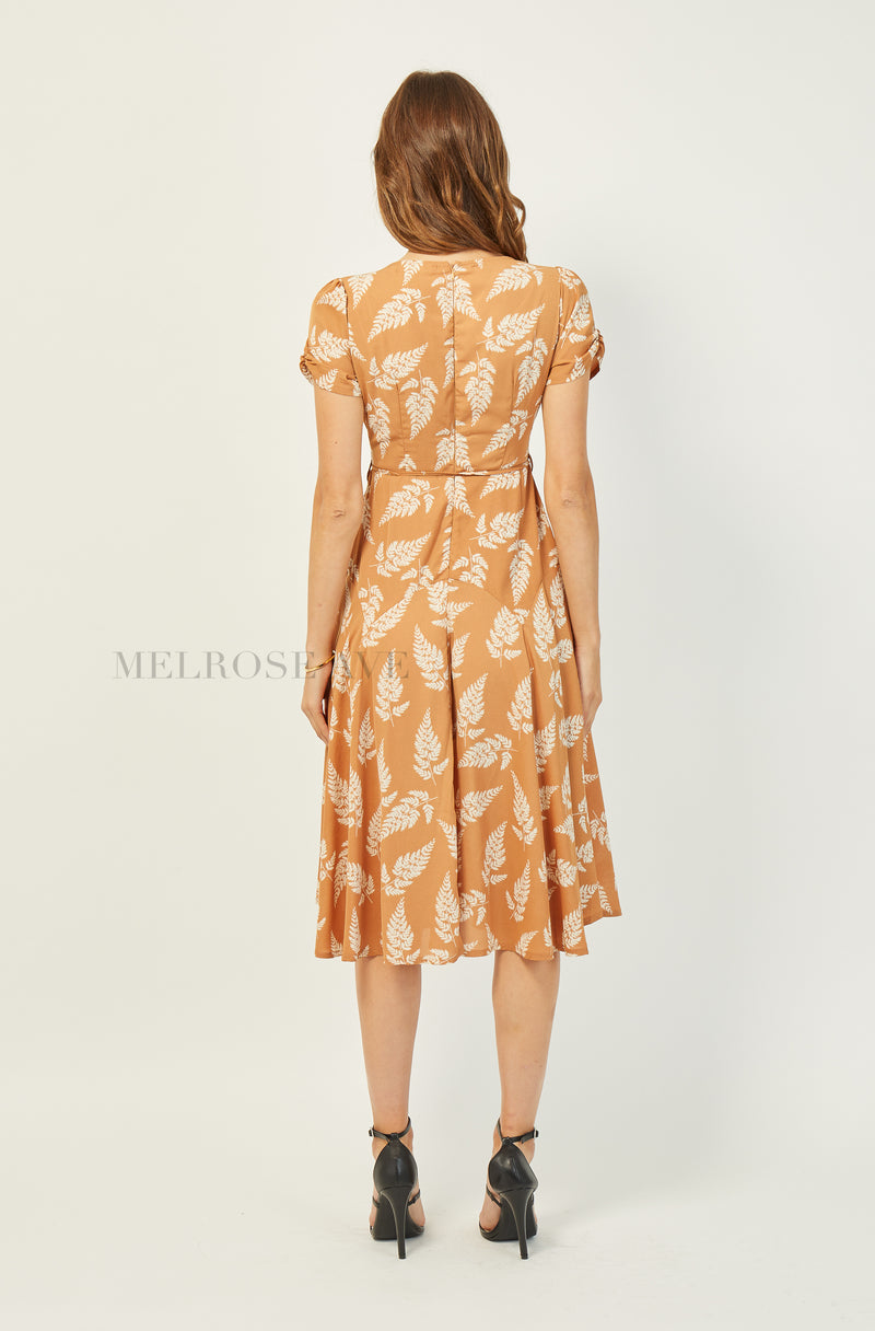 Eve Midi Dress | Tan | Floral