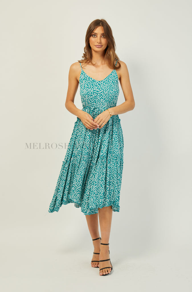 True Romance Midi Dress | Green-White Floral