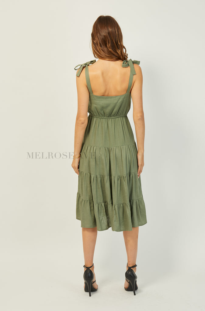 Madelyn Midi Dress | Khaki