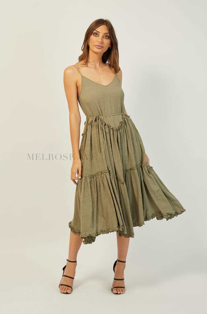 True Romance Midi Dress | Khaki