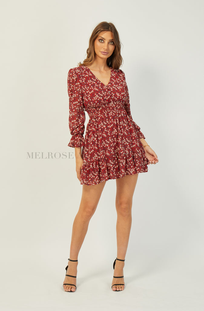 Hailey Mini Dress | Burgundy