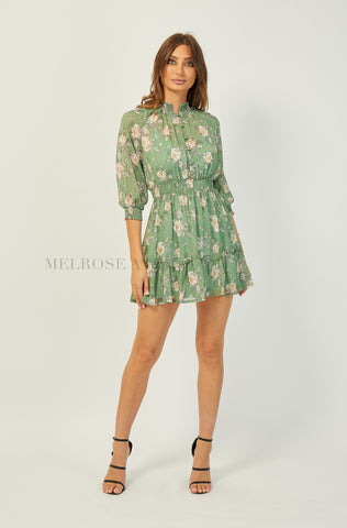 Calia Mini Dress | Green | Floral