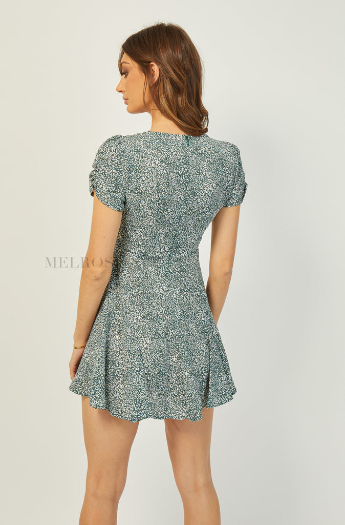 Chloris Mini Dress | Green-White Floral