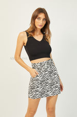 Hayden Mini Skirt | White-Black