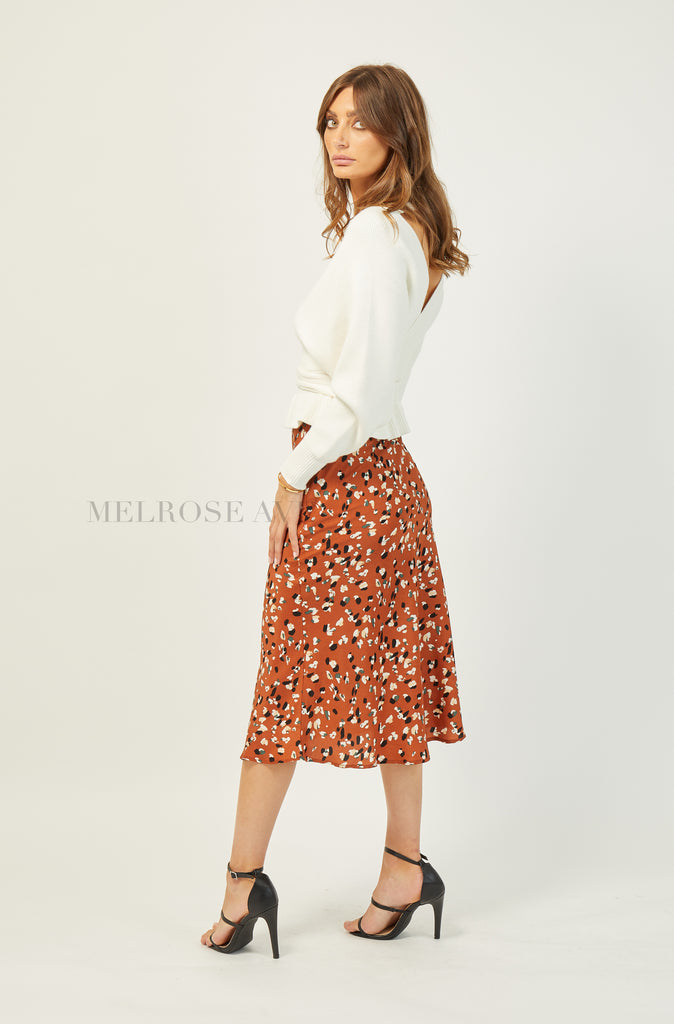 Beverly Midi Skirt | Rust