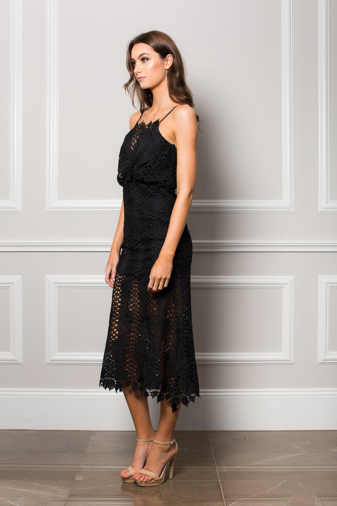 Black Lace mermaid style  Chantelle Midi Dress