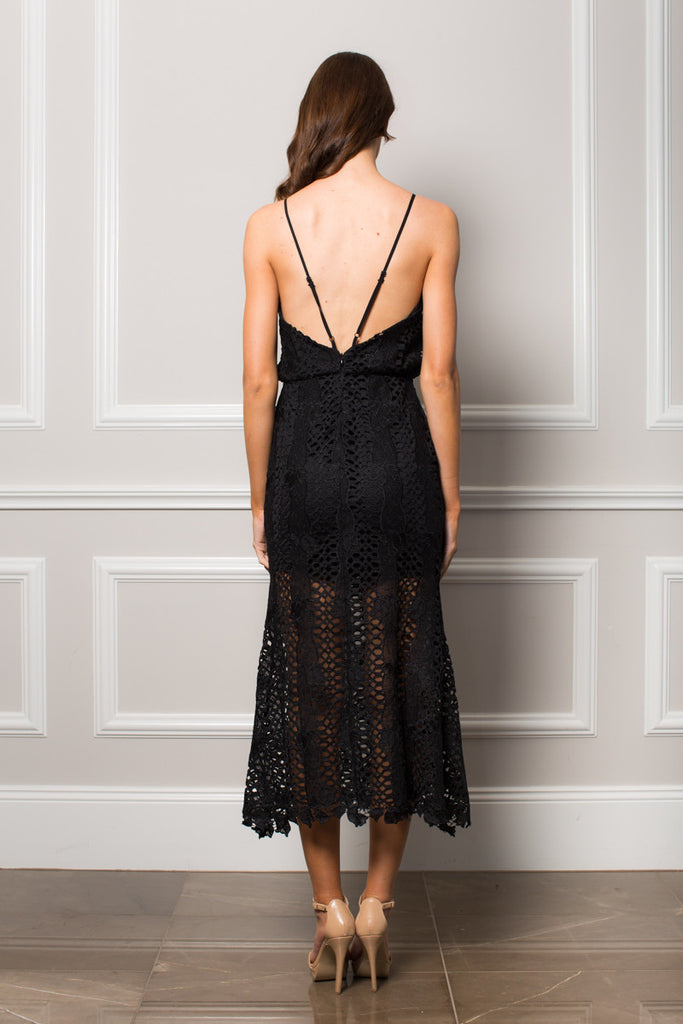 Black Lace mermaid style dress Lace trim edge detail Thin spaghetti adjustable straps Sheer lace skirt with bust cut out detail Low back line Chantelle Midi Dress