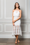 White Lace mermaid style Chantelle Midi Dress