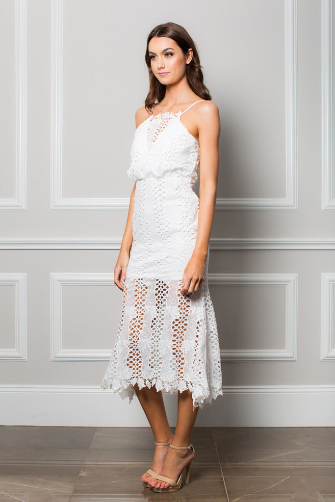 White Lace mermaid style dress Lace trim edge detail Thin spaghetti adjustable straps Sheer lace skirt with bust cut out detail Low back line Chantelle Midi Dress
