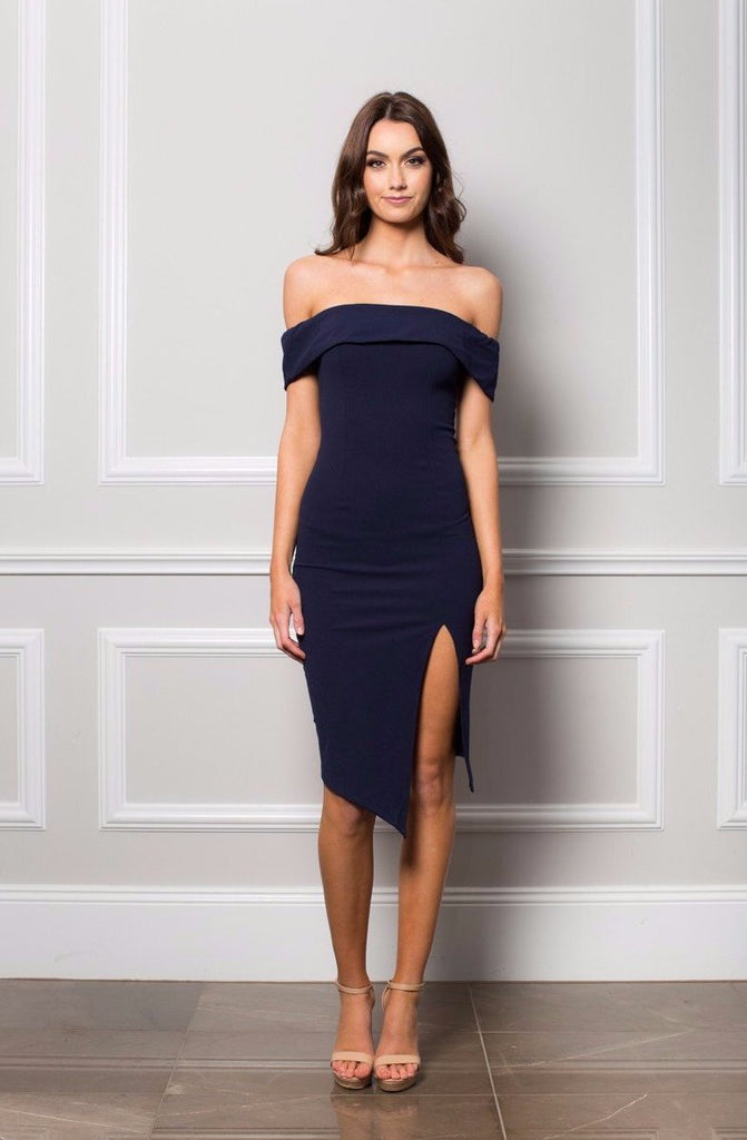 Navy Off the shoulder Stretch fabric Side leg split Ebony Midi Dress