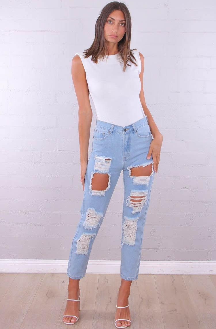 Pia Ripped Denim Jeans
