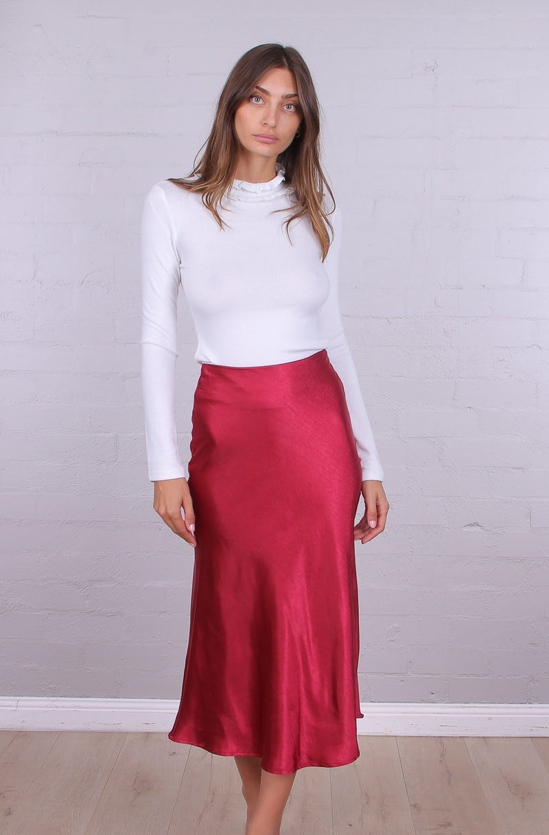 Monique Midi Skirt | Red