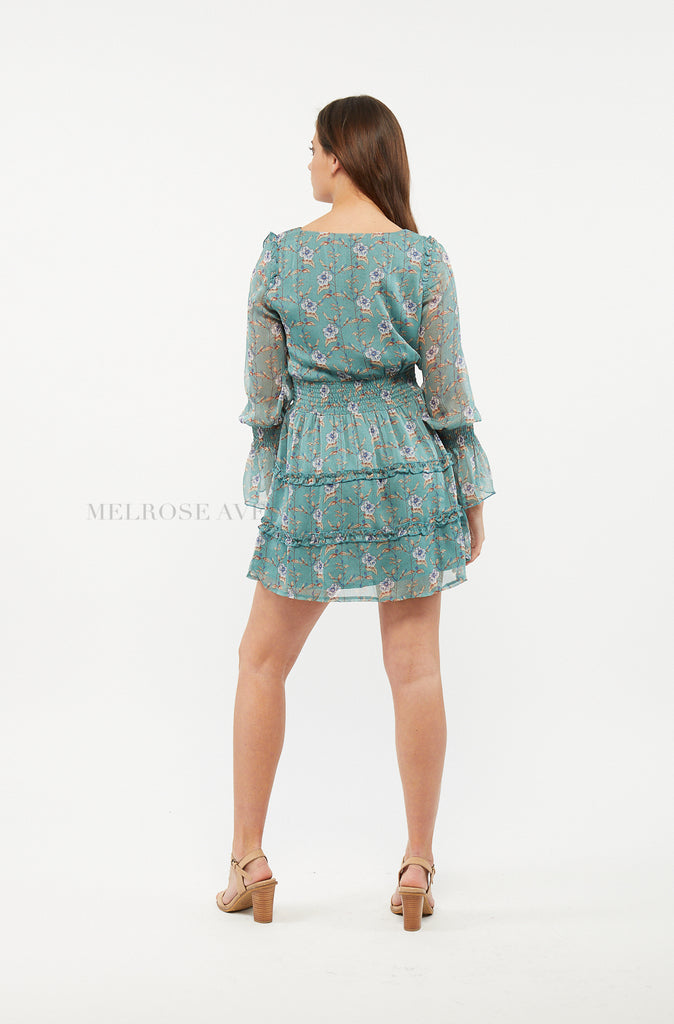 Ella Mini Dress | Floral | Teal