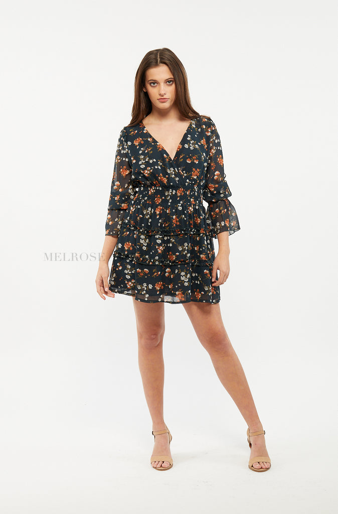 Ella Mini Dress | Floral | Black