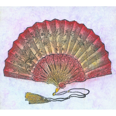 Asian fan decorated with flowers, rubber stamp