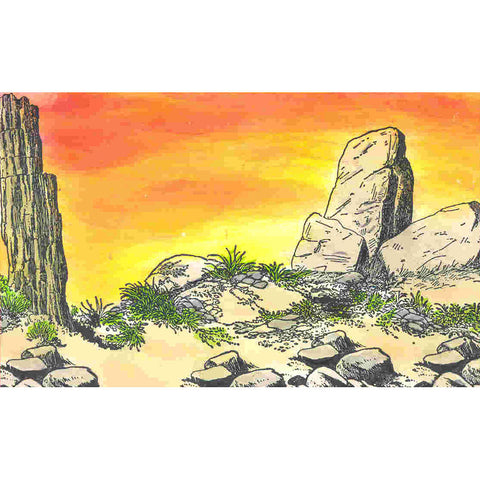 One tall boulder and two short boulders rubber stamp