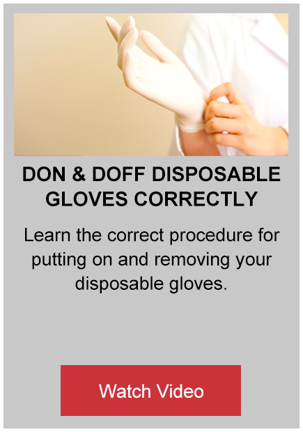 don and doff disposable glove correctly button