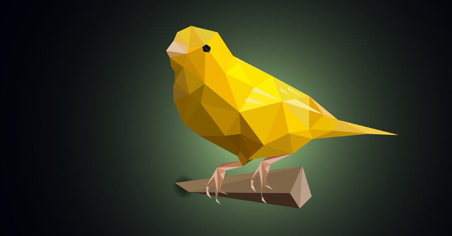 yellow canary on stick