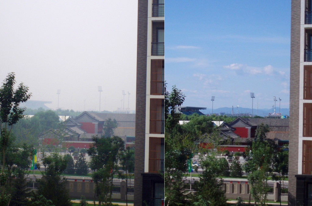 View from the Olympic Village before and after the thunderstorms