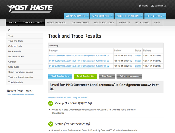POst Haste Tracek & Trace results example