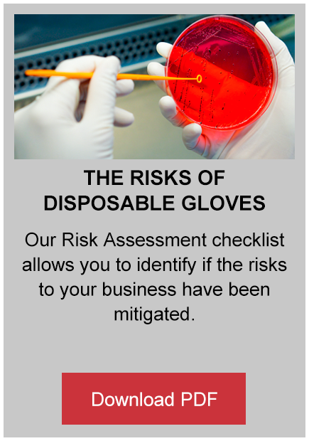 the risks of disposable gloves button