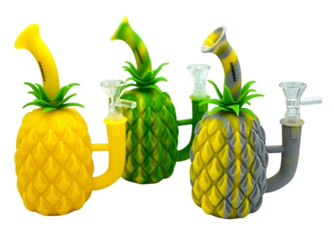 "6"" Arsenal Silicone Pineapple w/Glass Flower Bowl"